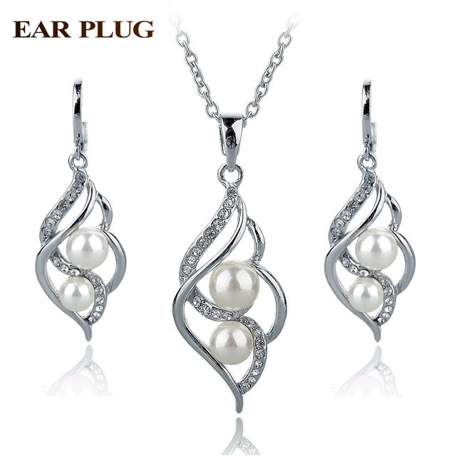 Simulated Pearl Indian Wedding Jewelry Sets Bridal Crystal Gold Color Earrings Statement Necklaces - Jewelry
