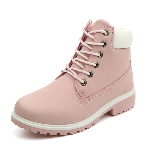 Pink Women Boots Lace up Solid Casual Ankle Boots Martin Round Toe Shoes Winter Snow Boots British - Shoes