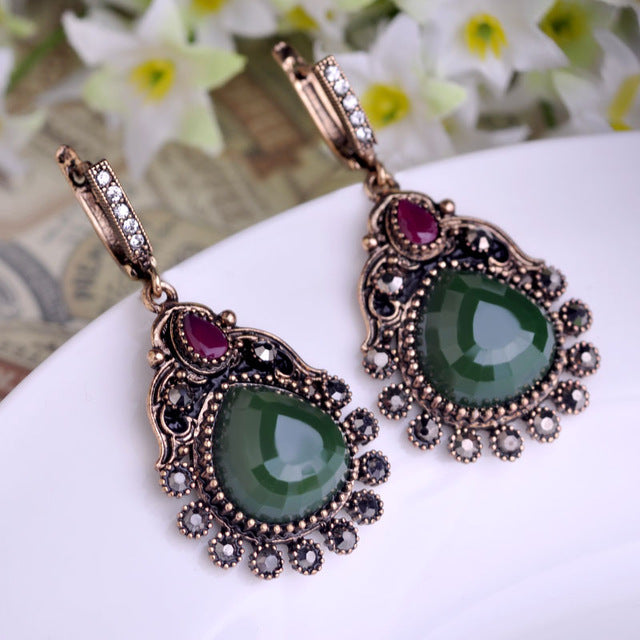 Blucome Turkish Green Heart Earrings Vintage Long Pendientes Pendant Princess Hooks Drop Earring - Jewelry