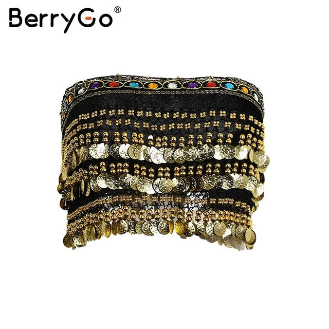 BerryGo Tassel Beading Velvet Top Tees Lace Up Punk Crop Sexy Gold Sequin Coin Chain Tube Tank Top
