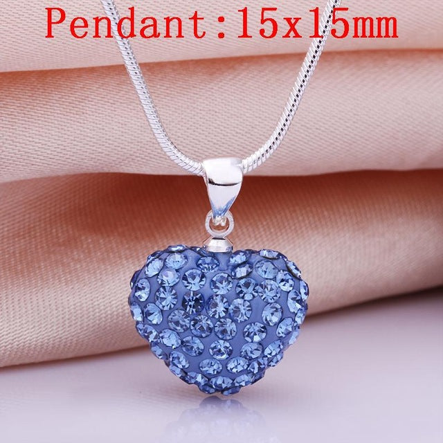 Necklace Women's Jewelry Loverly Romantic Slide Heart Pendant Crystal Silver Color Red Necklaces - Jewelry