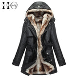 Women Basic Jackets Winter Coats Faux Fur Warm Parka Hood Coat Oversize 2 Pieces Sets