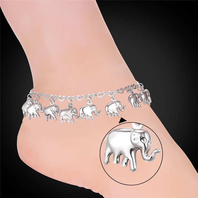 U7 Little Elephant Anklet Women Gift Silver/Gold Color Cute Animal Summer Jewelry Foot Anklet