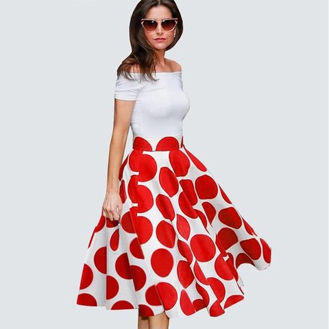 Ladylike Patchwork Red Dots Vintage Slash Neck Chic Gorgeous Ball Gown Off Shoulder Casual Dress