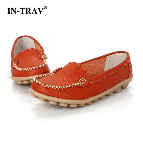 Genuine Leather Oxford Shoes Women Flats Shoes Casual Moccasins Loafers - Shoes