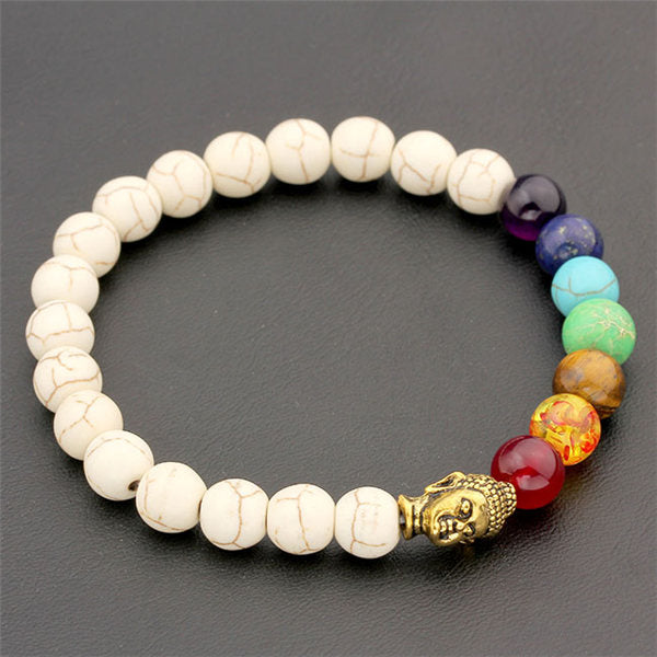 Ayliss 8mm White Stone Black Lava Beads 7 Chakra Healing Balance Buddha Bracelet Yoga Reiki Prayer - Jewelry