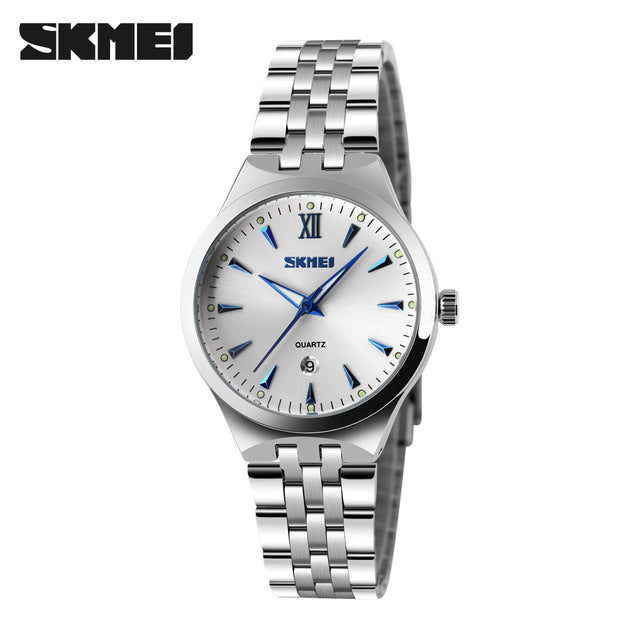 SKMEI Mens Watches Luxury Casual Quartz Wristwatches Stainless Steel Couple Watches