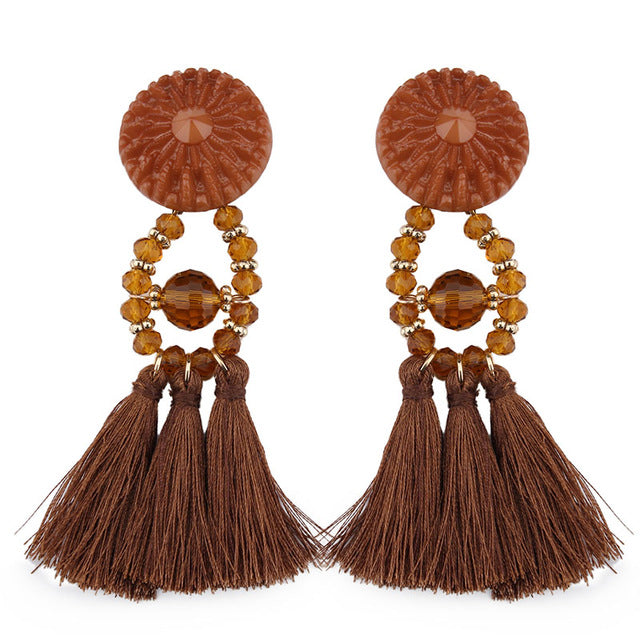 Beads Long Big Earrings Tassel Wedding Drop Earrings Dangle Women Statement Jewelry - Jewelry