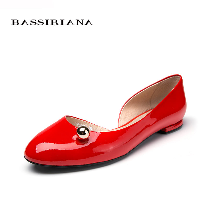Woman Genuiene patent leather Flats shoes summer spring Solid colour Red Black Milk BASSIRIANA - Shoes