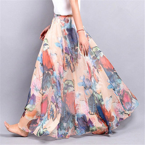 Summer Chiffon Beach Bohemian Maxi Skirts High Waist Tutu Casual Harajuku Print Skirt