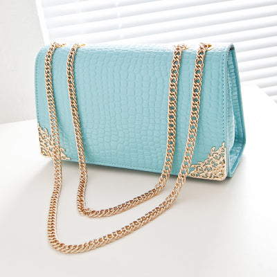 Summer Trend Women Han Edition Crocodile Lines Handbags Gold Chain Retro Messenger Bags
