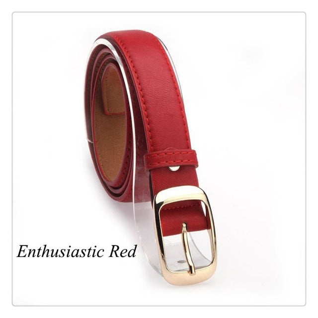 Women Belts Cinturones Mujer Ladies Faux Leather Metal Buckle Straps Girls Fashion Accessories