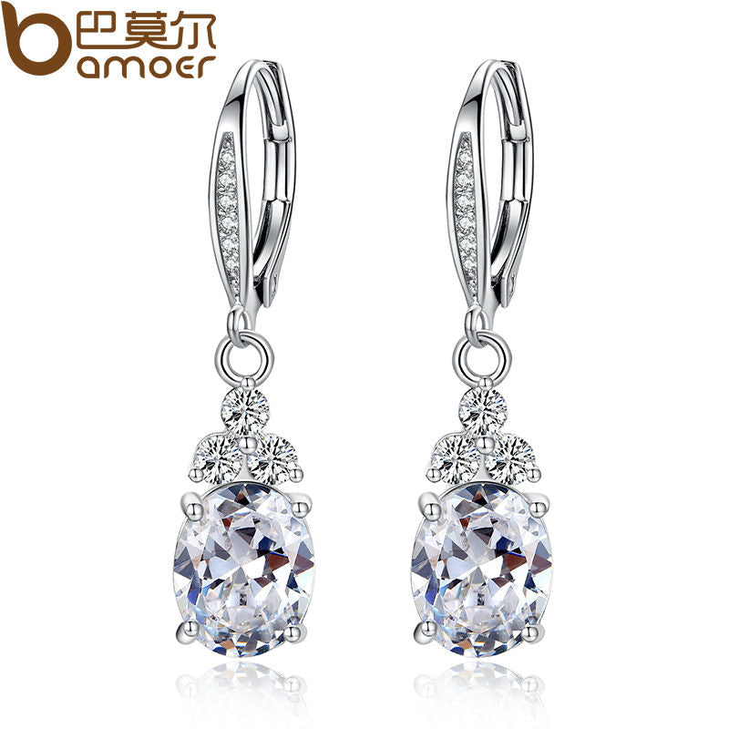 Authentic White & Blue Crystal Anti-allergic Environmentally Copper Zircon Jewelry Drop Earring - Jewelry
