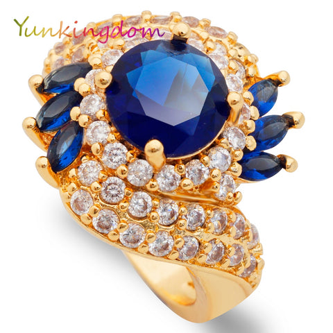 Yunkingdom blue zircon rings women gold color anel big ring female gifts - Jewelry