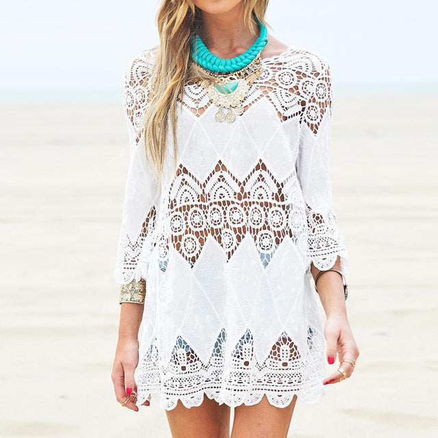 Summer Beach Mini White Dress Half Sleeve O Neck Lace Floral Crochet Hollow Out Solid Beach Dress