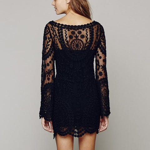 Commemorative Bell Sleeve Dress Casual Crochet Floral Lace Embroidery Dress Sheer Boho Style