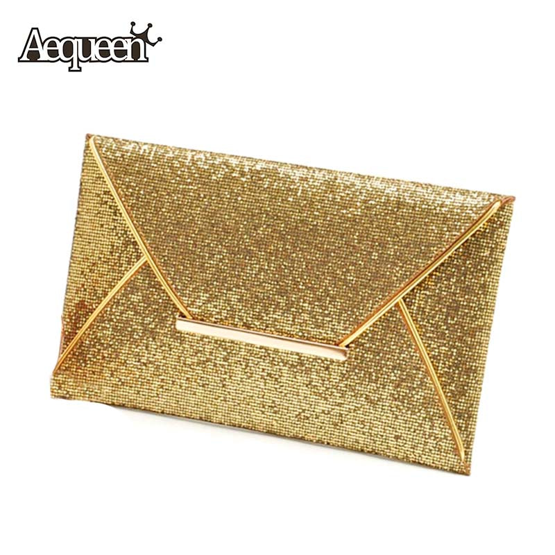 Evening Party Bags Gold Sequins Envelope Bag Purse Clutch Handbags Pattern Shiny Solid Ultrathin
