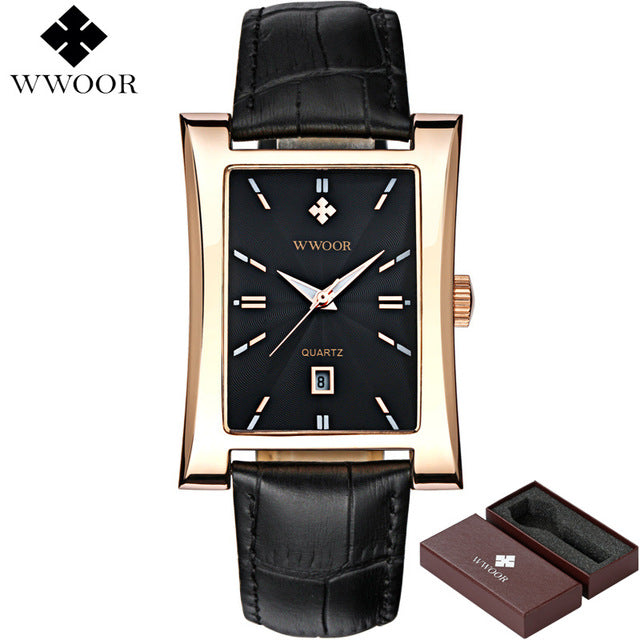Men Luxury Glow Square Clock Waterproof Casual Quartz Watch Leather Strap Sport Wrist Watch