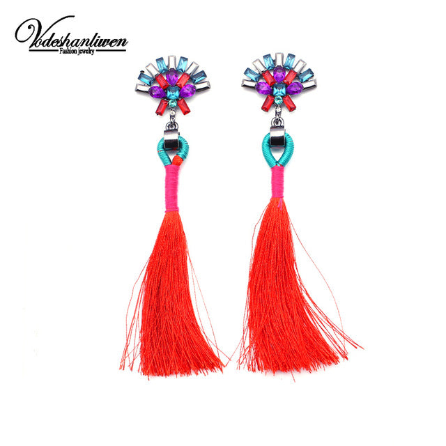 Statement Jewelry Tassel Long Earring For Women 2 Colors Wedding Dangle Drop Earrings - Jewelry