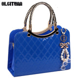 OLGITUM Cute Tote Popular Large PU Leather Tote Shoulder Bag Ladies Messenger Chain Plaid Handbag