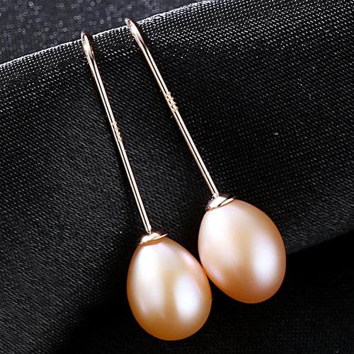 Simple Ear 925 Sterling Silver Earrings Natural Rice Pearl Drop Earrings Women Classic Pearl Jewelry - Jewelry