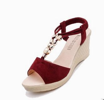 Summer High-heeled Wedge Sandals Female fish mouth Beading shoes Korean style Women - Shoes