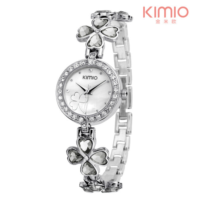 KIMIO Lucky Clover Love Crystal Strap Austrian Drilling Women Watches Luxury Quartz Watches Clock