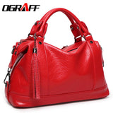 OGRAFF Boston Tassel Leather Bag Litchi Shoulder Handbags Luxury Women Bags Designer