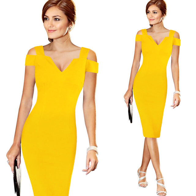 Vfemage Off Shoulder Cut Out Deep V Summer Slim Casual Party Club Evening Bodycon Pencil Dress