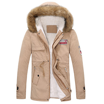 Men's Jacket Parka Thick Warm Fur Collar Long Cotton Jacket Men Comfortable Cotton Hooded Parka Men