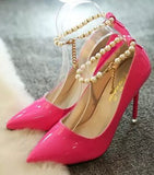 Koovan Women Pumps Spring Shoes Pointed High Heels Shoes Thin Heels Pearl Wedding Shoes Red Pink - Shoes