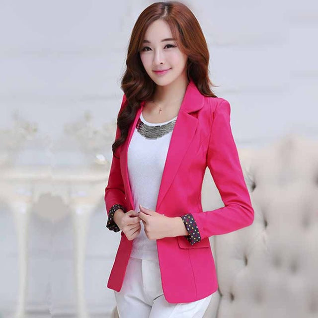 Women Blazers Candy Color Long Sleeve Female Blazer Suit Suit Jackets Coat