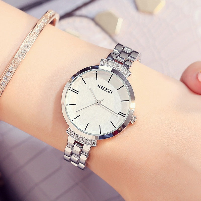 KEZZI Luxury Stainless Steel Women Watches Simple Waterproof Quartz Wristwatches Ladies Watch