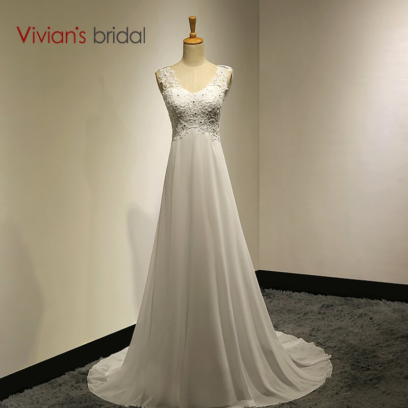 Vivians Bridal Sexy Lace Appliques Chiffon Beach Wedding Dress Boho Cheap Bridal Gown Casamento