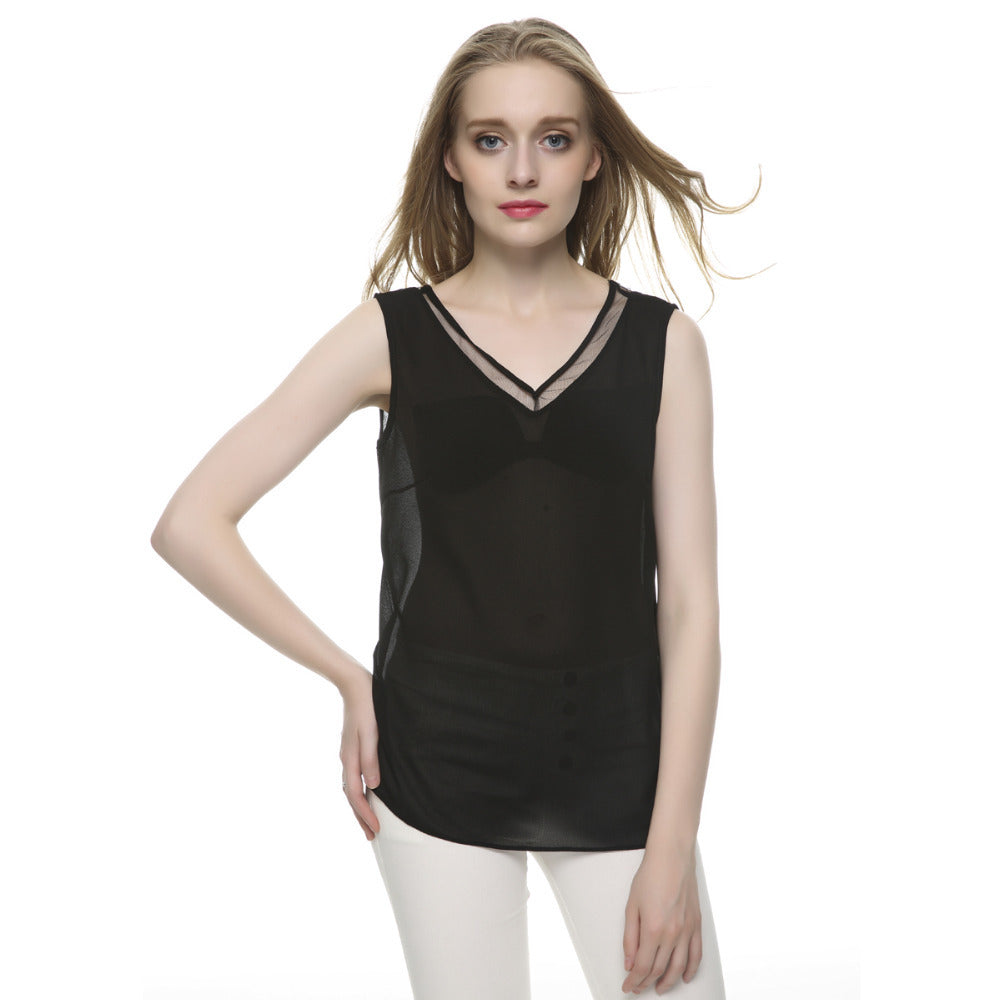 Women Tops V Neck Chiffon Sleevelsss Sexy Blouses Casual Slim Brand Tops