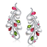 925 Silver Freshwater Colourful Pearl Stud Earring Natural Phoenix Earrings Pearls Jewelry - Jewelry