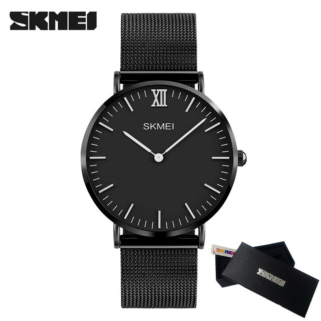 Top Brand Quartz Waterproof Ultra Thin Men Watch Women Steel Strap Quartz Casual Wrist Watch