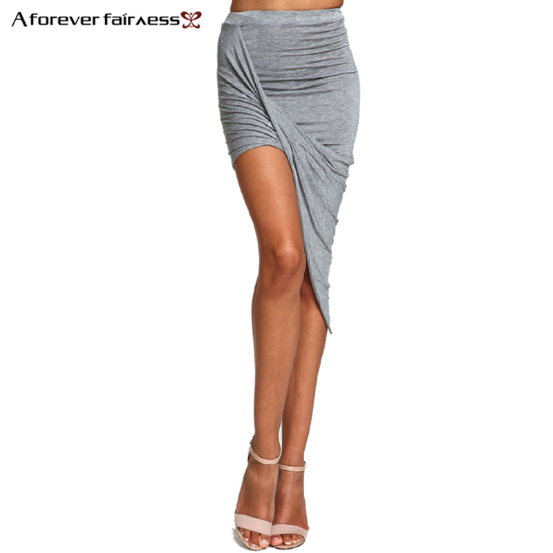 Summer Hem Cross Fold Sexy Wrap Banded Waist Draped Skirt Cut Out Asymmetrical Pencil Skirts