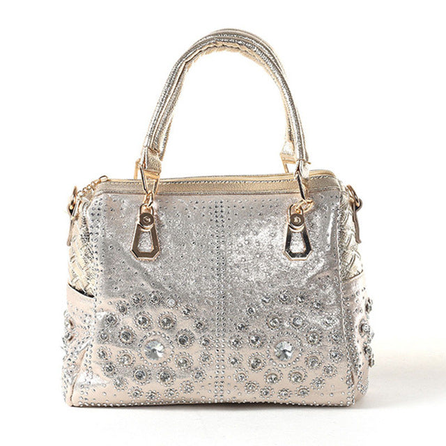 iPinee Casual Ladies Tote Bags Crystal Diamond Messenger Bags Famous Brand Luxury Women Bags