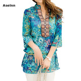 Spring Summer Women Chiffon Print Blouse Shirt Ethnic Style Loose Green Thin Tops