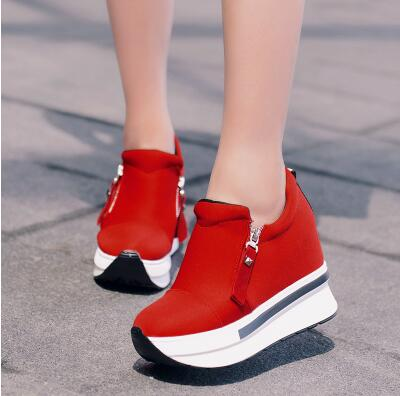 Women Casual Platform High Heels Shoes Wedges Shoes Loafers Heigh - Shoes