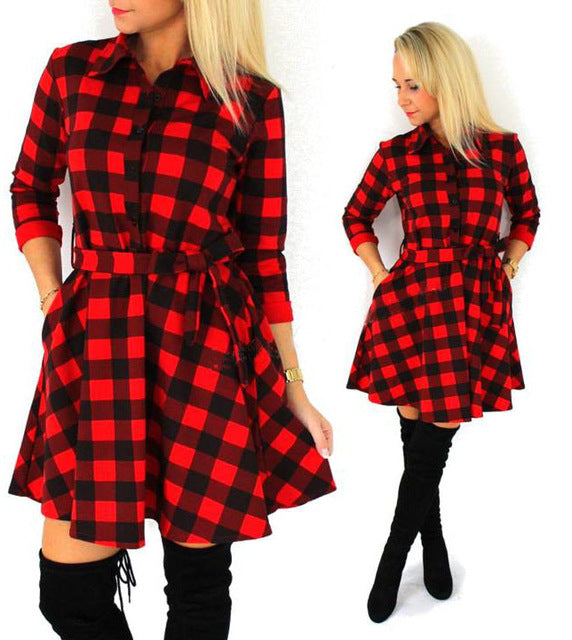Leisure Vintage Dresses Autumn Fall Women Plaid Check Print Spring Casual Shirt Mini Dress