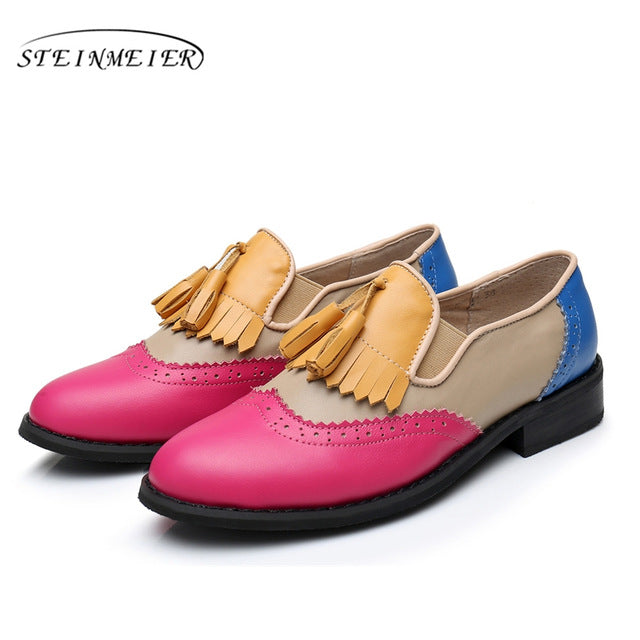 Genuine Leather Big Woman Vintage Flat Rose Blue Shoes Round Toe Tassel Yellow Oxford - Shoes