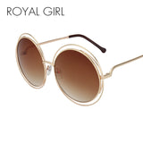 ROYAL GIRL Elegant Round Wire Frame Sunglasses Women Mirror Gradient Shades Oversize Eyeglasses