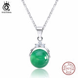 ORSA JEWELS 925 Sterling Silver Pendant Necklaces with Shiny Green Cat's Eye Stone Women Genuine Silver Gift - Jewelry
