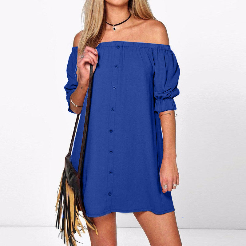 ZANZEA Sexy Off Shoulder Mini Party Dress Casual Loose Half Sleeve Strapless Dresses Long Tops
