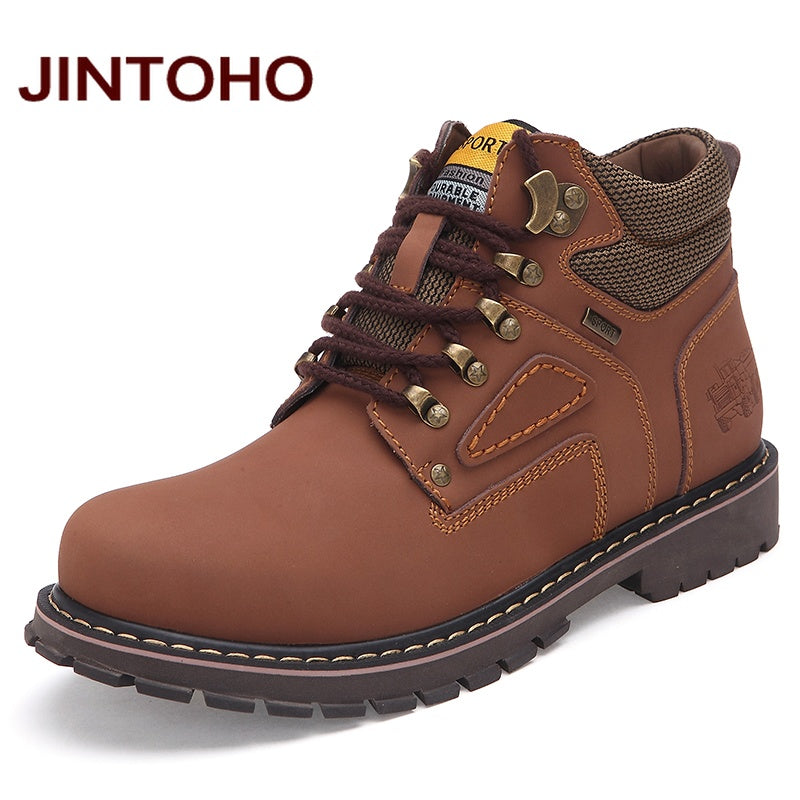 Men Ankle Boots Genuine Leather Work Safety Boots Winter Shoes Rubber Boots Men Work - Shoes