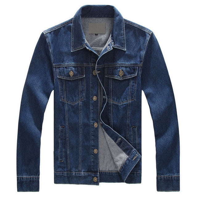 Men Jackets Big Size Loose Coat Casual Blue Denim Jacket Jean Overcoat