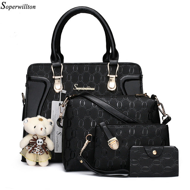 Soperwillton Women Luxury Handbags Shoulder Patchwork Crossbody Messenger Women's Bag 4 Piece