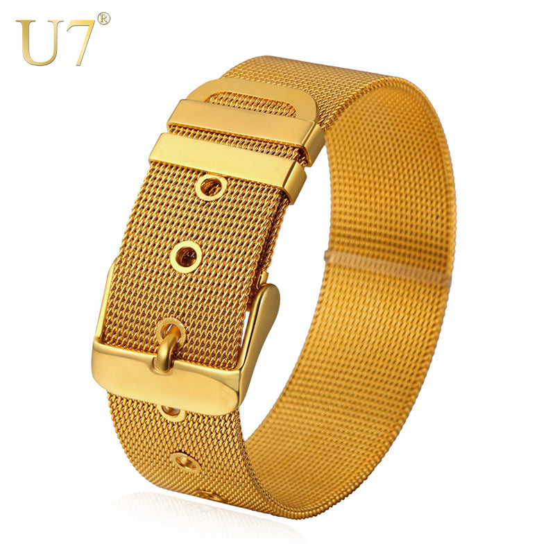 U7 Stainless Steel Bracelet Men Jewelry Gold Color Mens Bracelets Watch Band Strap Bracelets Bangles - Jewelry